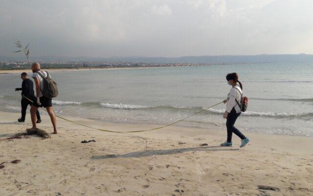 Beach litter activity in Tyre, Lebanon, November 2020